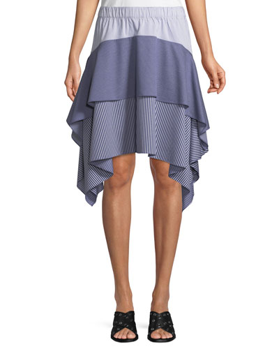 Tiered Asymmetric Striped Skirt