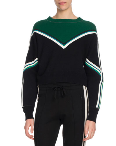 Kimo Striped Cropped Pullover Sweater
