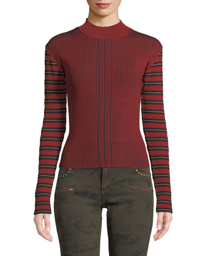 Striped Ribbed Long-Sleeve Pullover Sweater