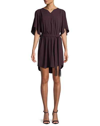 Flowy Half-Sleeve Crepe Dress