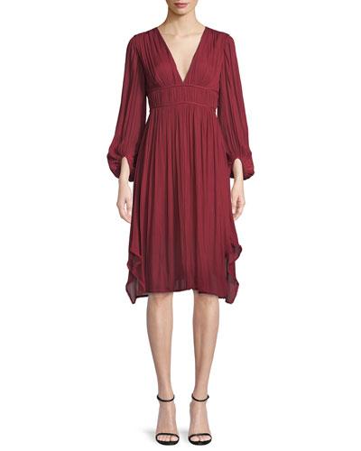 Flowy Bishop Sleeve Ruched Dress