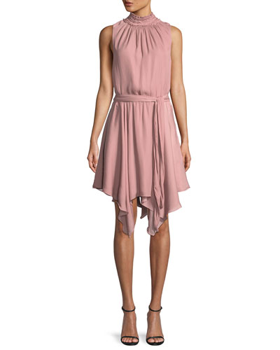 High-Neck Smocked Ruffle Mini Dress