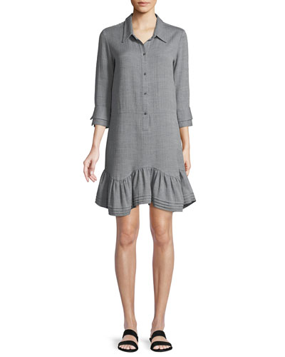 Button-Front Collared Shirt Dress