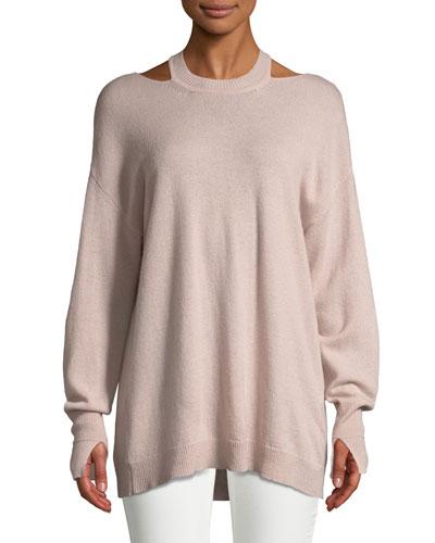 Cashmere Cutout Long-Sleeve Sweater