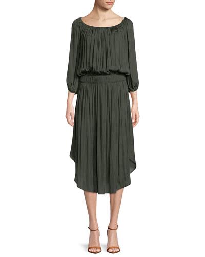 Flowy Ruched Sheath Dress
