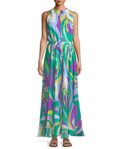 Parrot-Print Silk Coverup Maxi Halter Dress