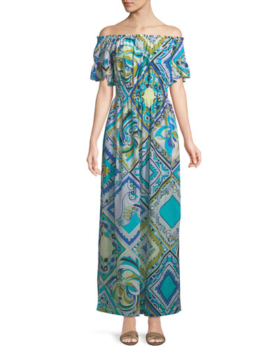 Postcards-Printed Cotton/Silk Coverup Maxi Dress