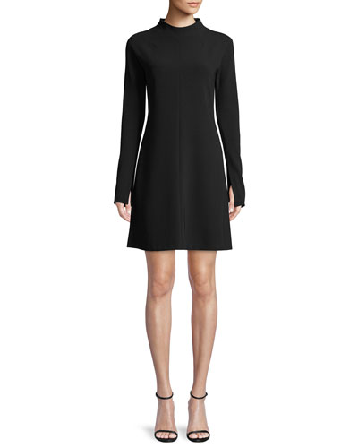 Mock-Neck Long-Sleeve A-Line Admiral Crepe Mini Dress