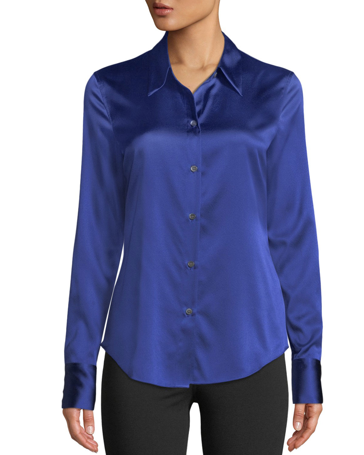 Perfect Fitted 2 Stretch-Satin Long-Sleeve Button-Down Blouse, Blue