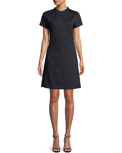 Crewneck Short-Sleeve Windowpane Check Knit Dolman Shift Dress