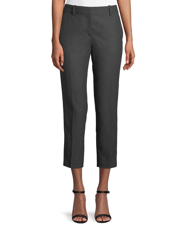 Trecca 2 Straight-Leg New Pure Flannel Cropped Pants, Light Gray