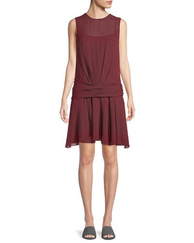 Draped Dot-Print Chiffon Dress