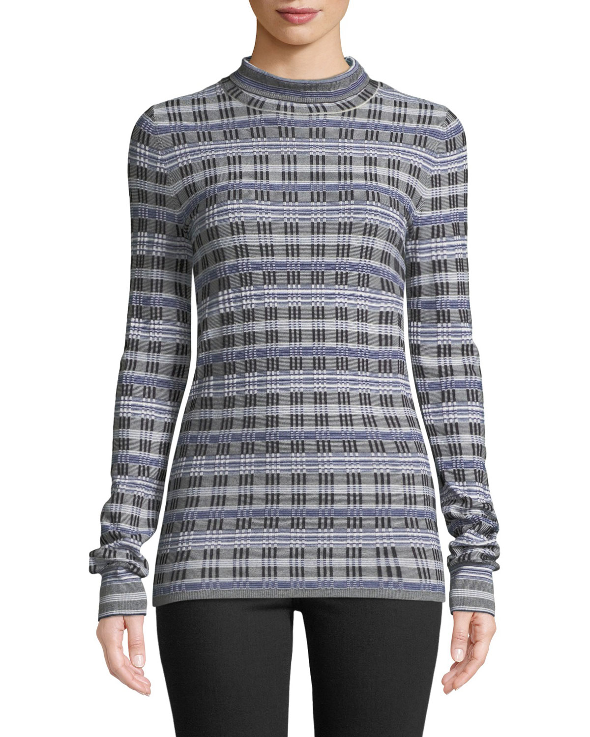 Checked Jacquard-Knit Turtleneck Sweater in Blue
