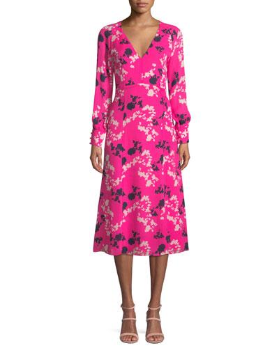 Alannah Printed Silk V-neck Midi Dress