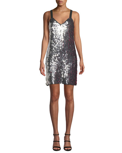 Becca Two-Tone Sequin Tank Dress