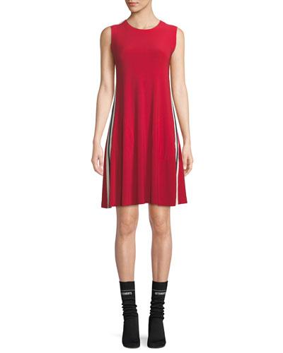 Side-Stripe Crewneck Jersey Swing Dress