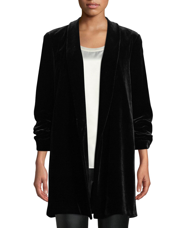 Cecily Open-Front Velvet Jacket