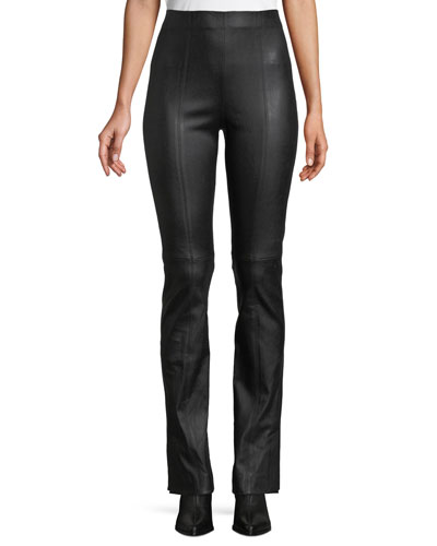 Stitch-Front Leather Leggings