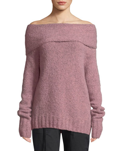 Off-Shoulder Alpaca Pullover Sweater