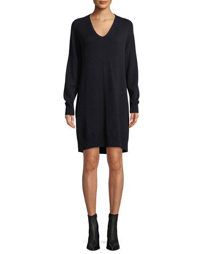 V-Neck Wool-Cashmere Sweater Dress