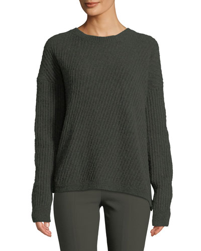 Side-Slit Wool Crewneck Pullover Sweater