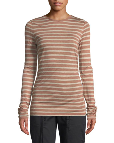 8bbe8169ee132 Cotton. Imported. Striped Long-Sleeve Crewneck Top Quick Look. Vince