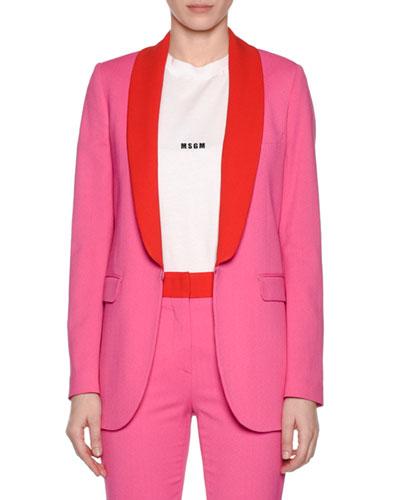 Shawl-Collar Hook-Front Blazer