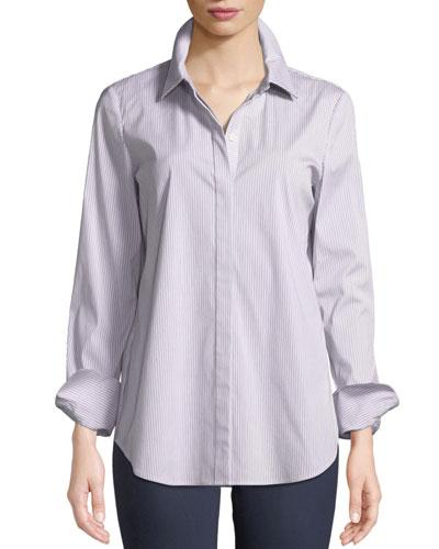 Scottie Button-Front Long-Sleeve Coy Striped Blouse