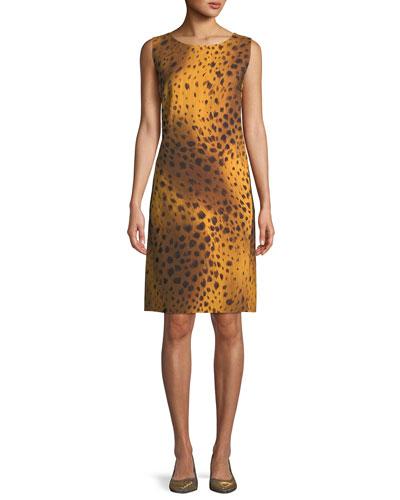 Bibiana Sleeveless Reversible Stripe & Leopard-Print A-Line Dress
