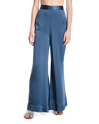 Silk Charmeuse Ultra Flare-Leg Pants