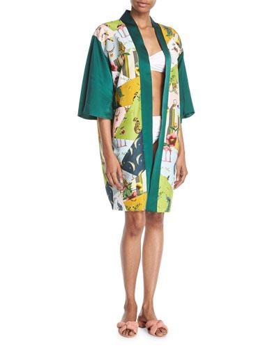 Patchwork Open-Front Charmeuse Kimono