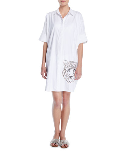 Hand-Beaded Tiger Button-Front Shirtdress