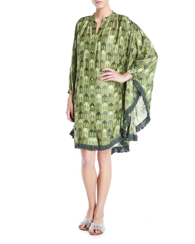 Wave Hand-Beaded Button-Front Kaftan Coverup w/ Fringe