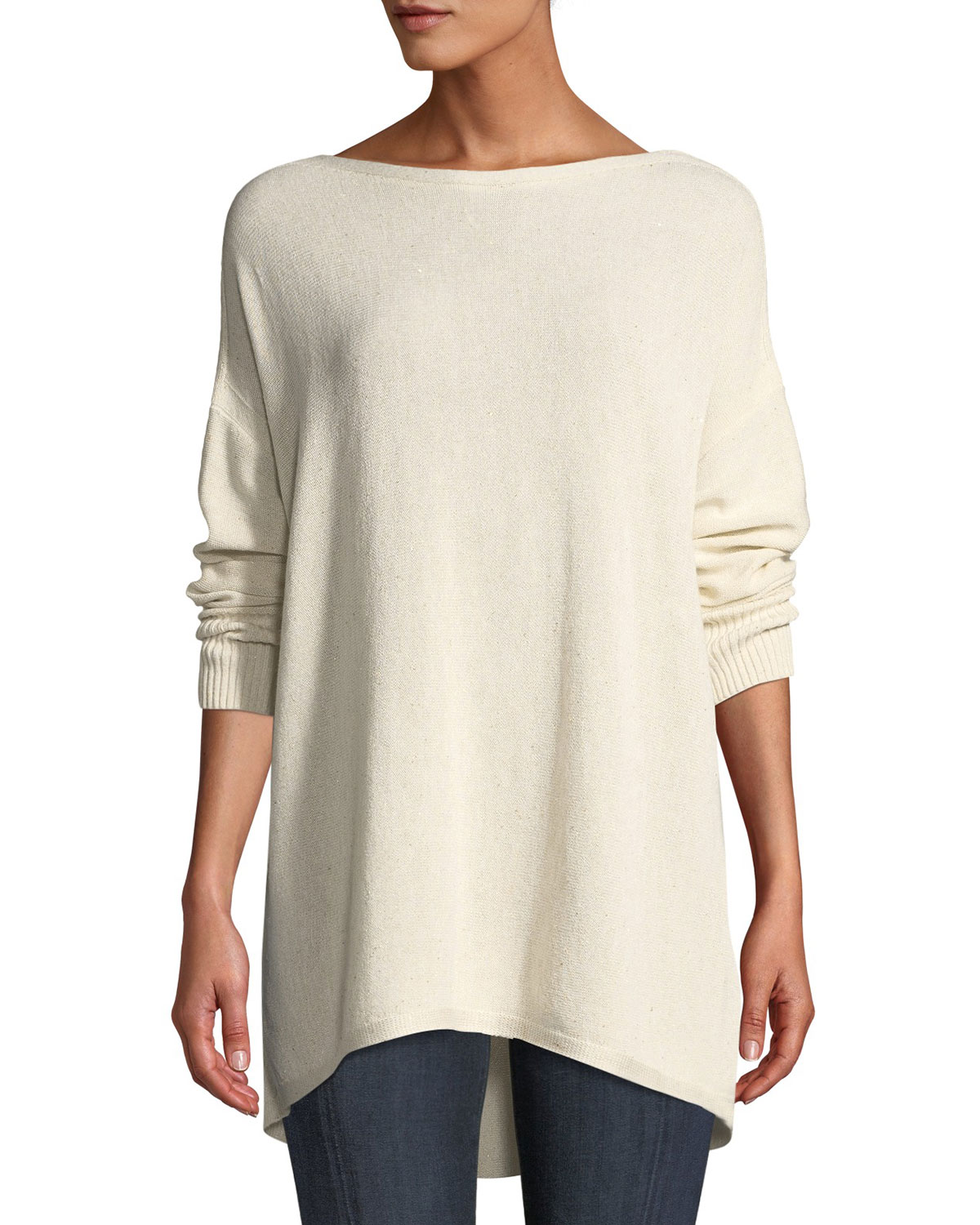 Lafayette 148 Sweaters DROP-SHOULDER NOVELTY SEQUIN PULLOVER SWEATER
