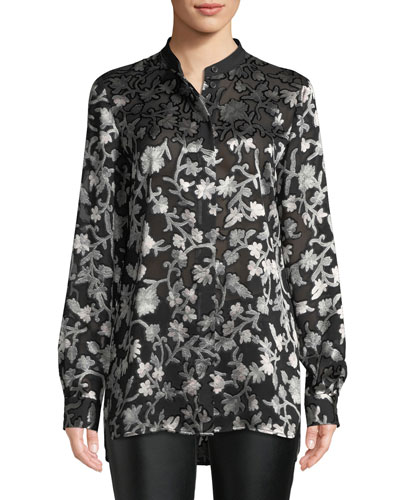 Brayden Long-Sleeve Button-Front Floral-Burnout Blouse