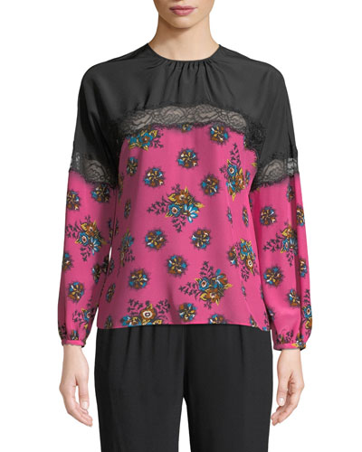 Bright Floral Print Silk Blouse