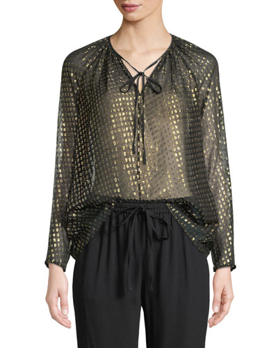 Silk Metallic Fil Coupe Tie-Neck Blouse