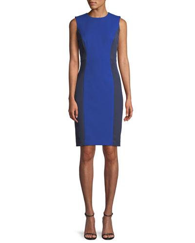 Sleeveless Colorblock Scuba Dress