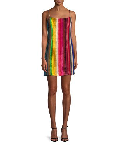 Rainbow Velvet Mini Slip Dress