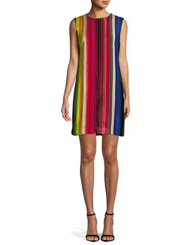 Gina Rainbow Velvet Shift Dress