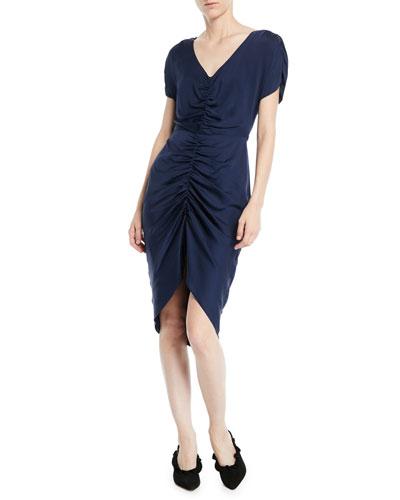 Alexa Stretch-Silk Ruched-Front Dress