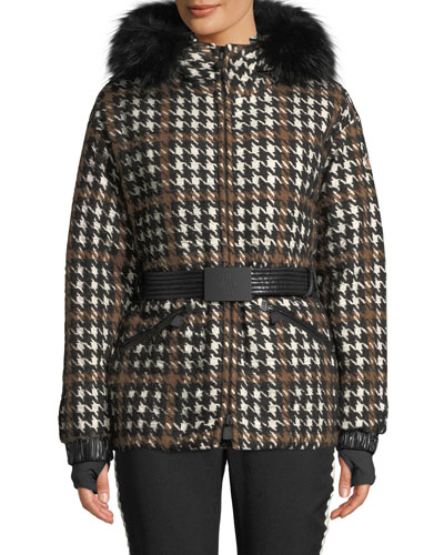 00f95bb8ab Gardena Houndstooth Coat w  Fur