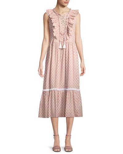 arrow stripe dress w/ lace-up front