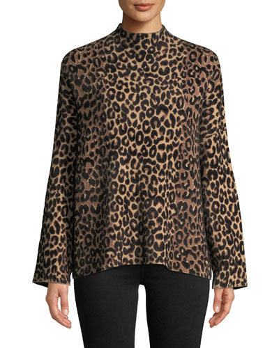 Mock-Neck Long-Sleeve Textured Cheetah Sweater