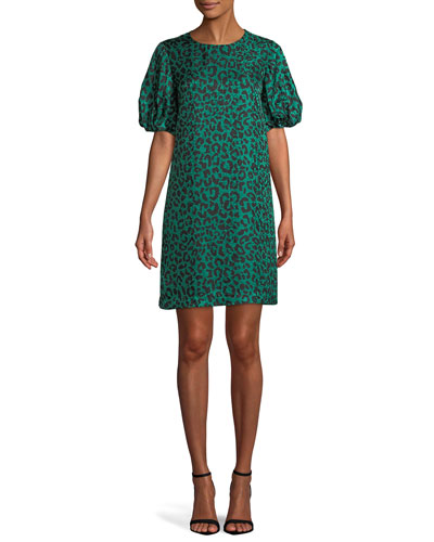 Melinda Short-Sleeve Leopard-Print Silk Shift Dress