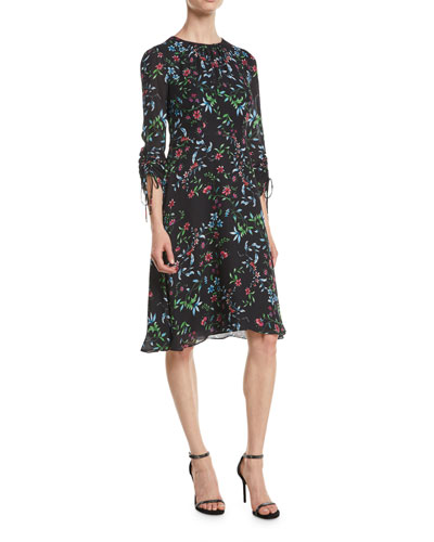 Diana Crewneck Ruched-Sleeve Wildflower-Print Silk A-Line Dress Quick Look.  Milly 6b521e613