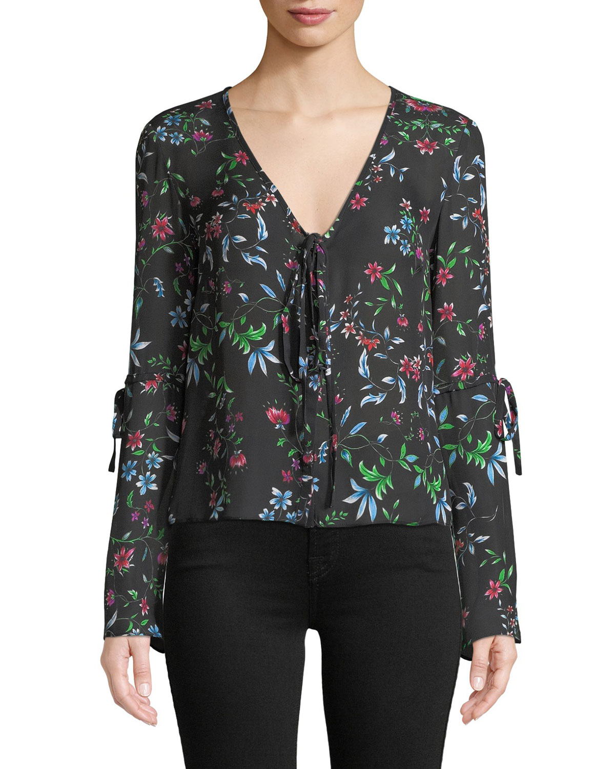 8e66c02362c918 MILLY MAGGIE V-NECK LONG-SLEEVE WILDFLOWER-PRINT SILK GEORGETTE TOP ...