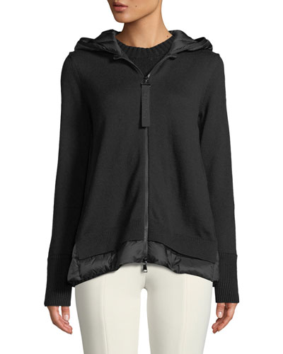 Maglione Tricot Zip-Front Hooded Cardigan