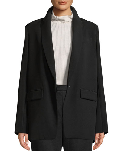 Shawl-Collar One-Button Boyfriend Blazer