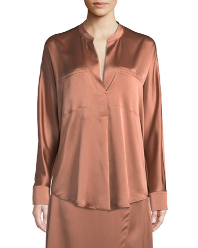 Band-Collar Silk Popover Blouse
